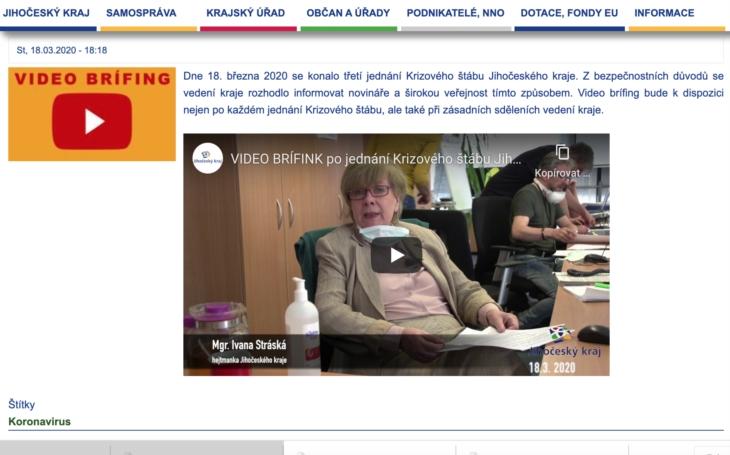 JIHOČESKÝ KRAJ - VIDEOBRÍFINK po jednání Krizového štábu 18. března 2020