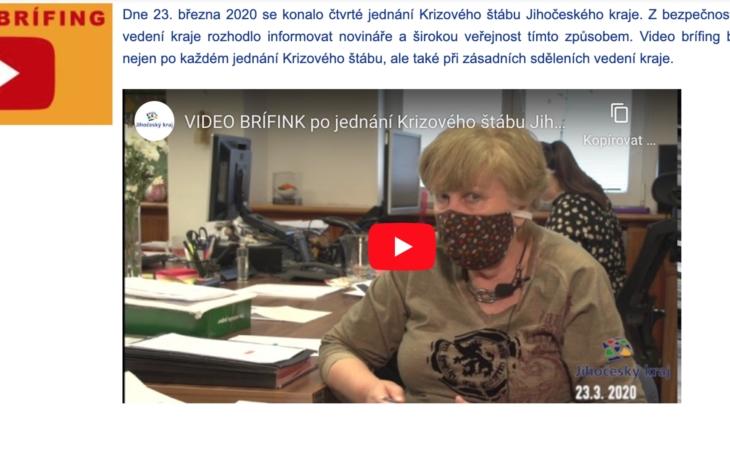 JIHOČESKÝ KRAJ - VIDEOBRÍFINK po jednání Krizového štábu
