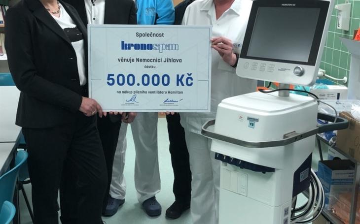 Nemocnice Jihlava: Díky sponzorovi jsme pořídili nový plicní ventilátor