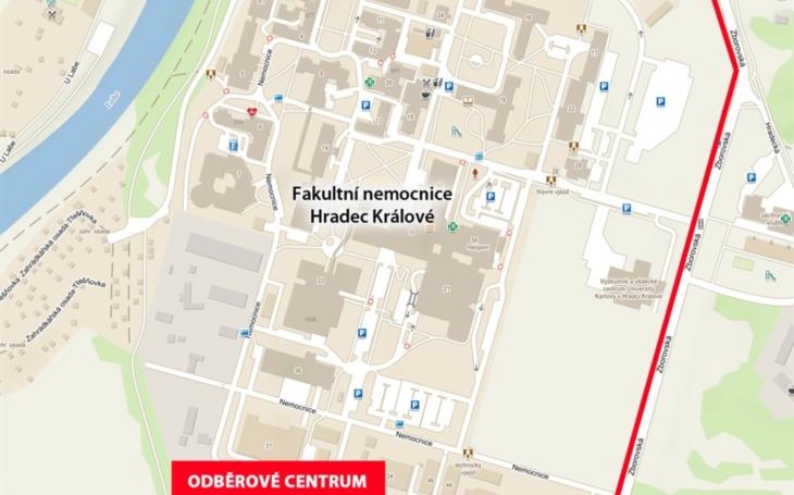 Fakultní nemocnice Hradec Králové: Přesun odběrového centra COVID-19