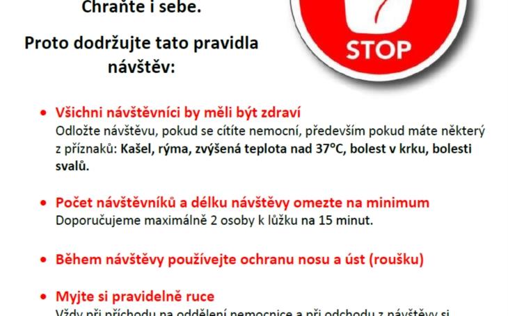 Nemocnice České Budějovice žádá veřejnost o omezení návštěv u krátce hospitalizovaných pacientů