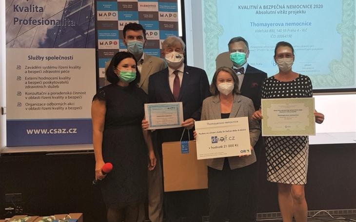 """Thomayerova nemocnice  se stala absolutním vítězem projektu """"KVALITNÍ A BEZPEČNÁ NEMOCNICE 2020"""""""