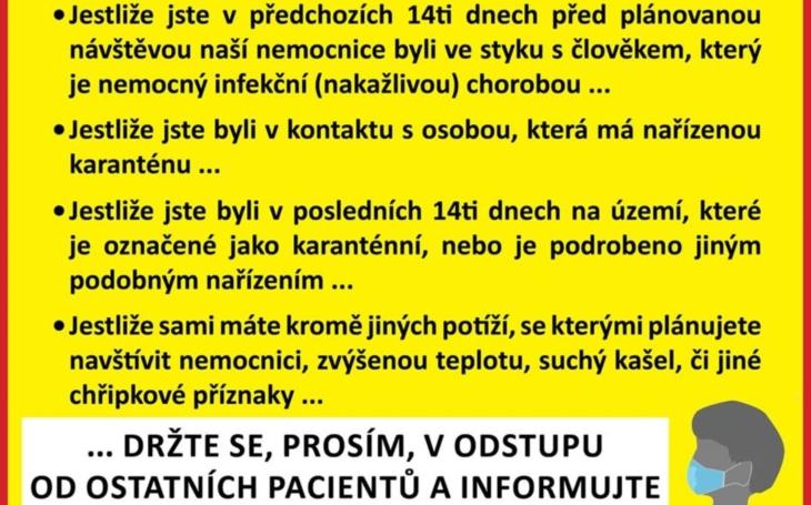 Nemocnice Rudolfa a Stefanie Benešov: Upozornění pro návštěvníky a pacienty