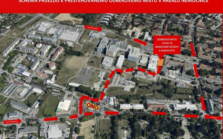 Nemocnice Jihlava: Odběrové místo u nemocnice se stěhuje